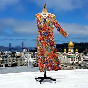 Dresses & Skirts - Vintage French Floral Gauzy Folk Dress, Sz 12
